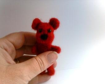 Custom Needle felted Mini Teddy Bear Brooch, Keyring or Keychain By Pixie Doodles