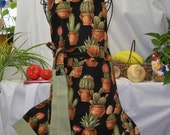 SOLD:  Cactuses in Pots on Black, Custom Made Full Chef Style Apron