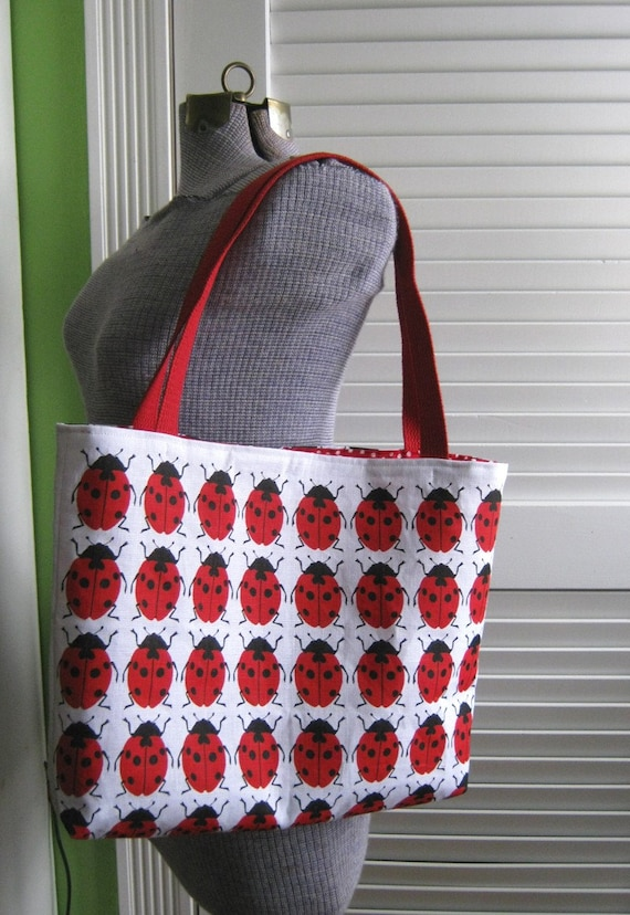 Upcycled Tote Bag with Magnetic Snap made from a Vintage Ladybug Tea Towel