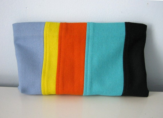 Upcycled Clutch Bag Made from Striped Wool from a Vintage Skirt
