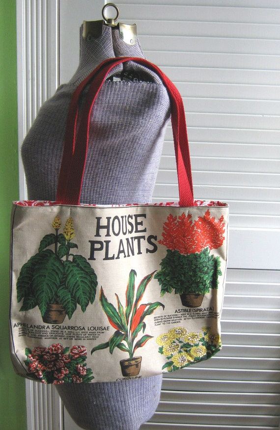 Upcycled Tote Bag made from a Vintage House Plant Themed Tea Towel