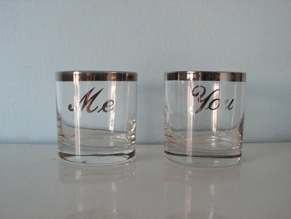 Vintage Barware - Pair of Silver Striped Glasses