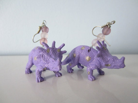 Upcycled Earrings made from Toy Dinosaurs - Purple Ceratops with Silver Polka Dots