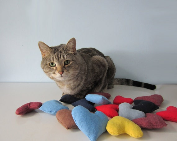 Upcycled Organic Catnip Cat Toys made from Recycled T-Shirts - Set of Three