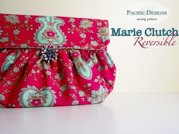 Handbag sewing pattern - Marie Reversible Clutch PDF Pattern