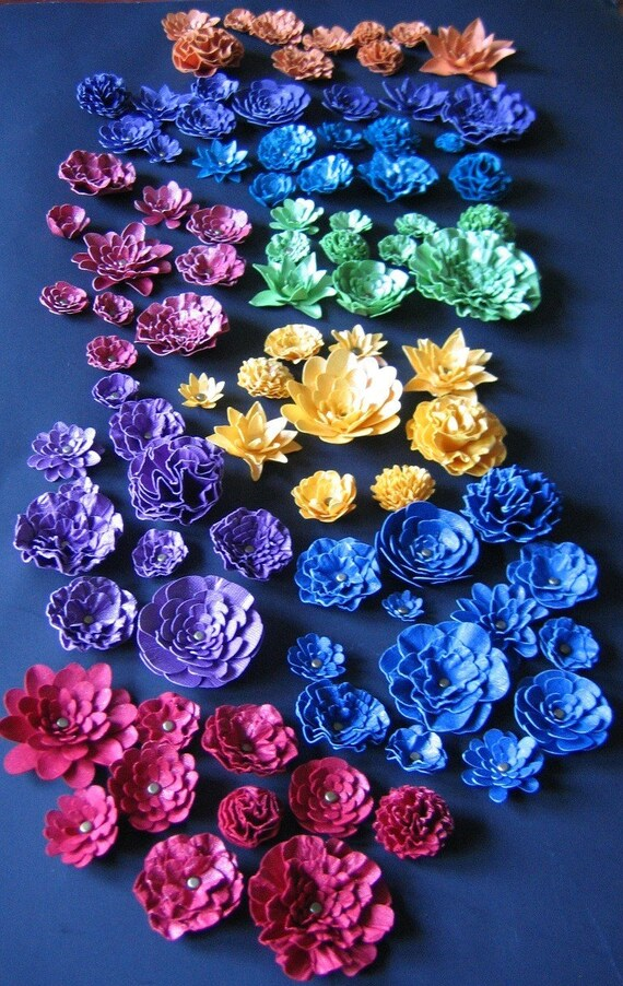 As seen in Traditional Home Magazine Wedding-Handmade Paper Flowers  90-1-3 inches Color of your choice-open flowers