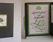 Monogram Custom Pocket Invitation - Folded A7