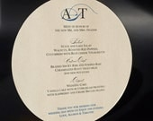 Circle Wedding Menu - Blue/White - 6  1/4 inch