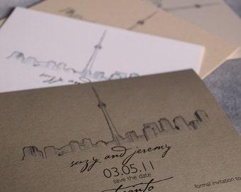 Toronto Skyline - Wedding Save the Date - Metallic Gold Postcard