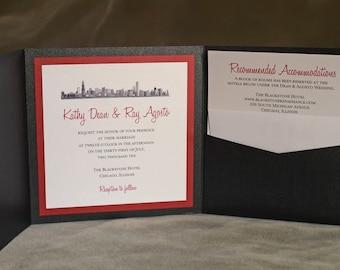 Chicago Skyline - Custom Pocket Invitation - Folded Square 6 inch
