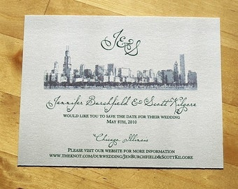 Chicago Skyline - Save the Date Wedding Invitation