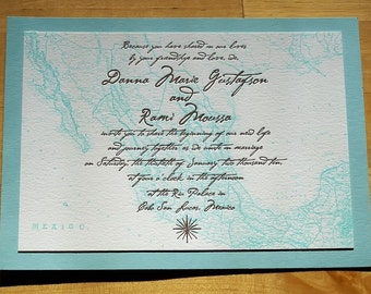 Wedding Invitation - Mexico Map - Offsett(Digital) Printed