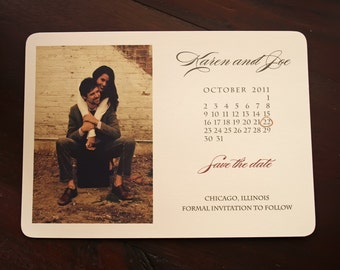 Rustic Save the Date Calendar,Photo Wedding Card, Vintage Save the Date Calender
