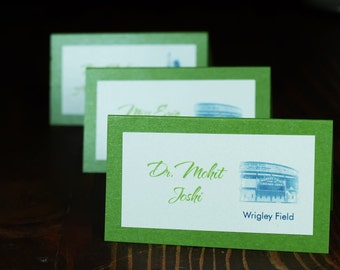 Chicago Landmark Place/Escort Cards - 2 layer 2 color - Green
