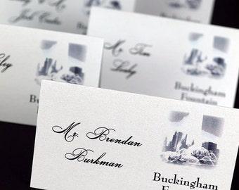 Chicago Landmark Place Card, Wedding Escort Card -  White