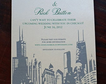 Save the Date, Chicago Skyline Invitation,  White/Green/Black - A7