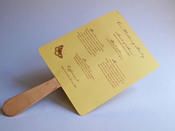 Fan Wedding Program  - Butterfly Design - Yellow