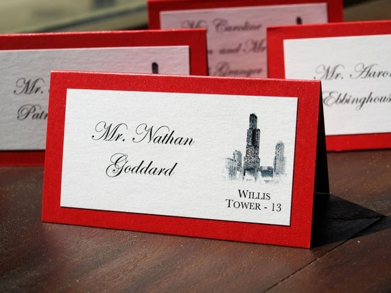 Chicago Landmark Place/Escort Cards - 2 layer 2 color - Red