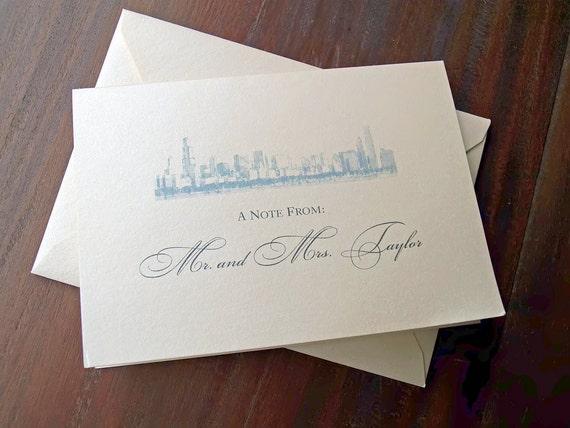Custom Chicago Skyline - Thank You Card - White