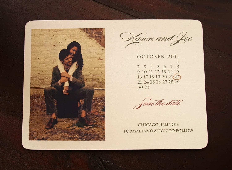 Rustic Save The Date CalendarPhoto Wedding Card Vintage Save
