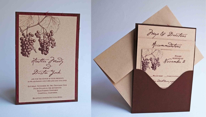 custom fall grape vineyard themed single pocket wedding With single pocket wedding invitations