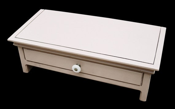 White  Wood Computer  Monitor Stand and Desk  Organizer  with Drawer
