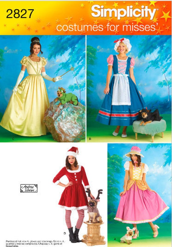 Simplicity 2827 Little Bo Peep, Little Miss Muffet, Princess and Santa Costume with Matching Costumes for Dogs in Misses Sizes 14-20