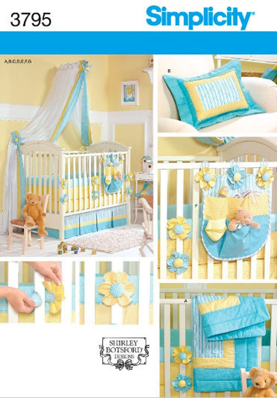 Simplicity 3795 Quilt, Pillow, Crib Sheet, Dust Ruffle, Bumpers, Organizer and Canopy for Baby's Nursery