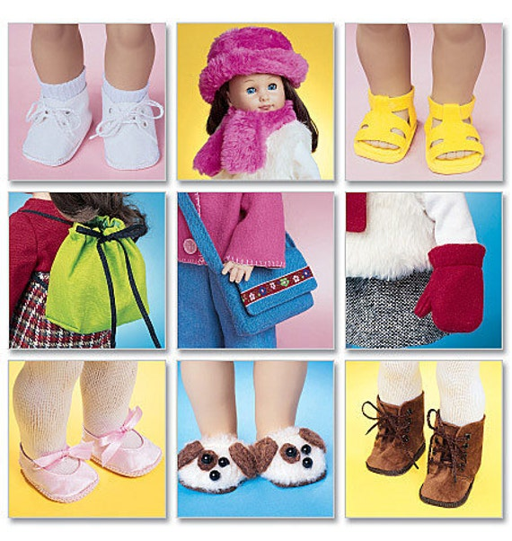 McCalls 3469 Shoes, Bags, Scarves, Hat and Mittens for 18 Inch Dolls