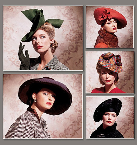Vogue 7464 1930's and 1940's Vintage Hats for Women