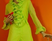 ON HOLD for Jade... Vintage Lime Green Ruffled Hot Pants 1960s