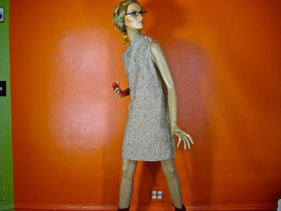 ON HOLD Please do not purchase   1960s Gold Lamé Knit Mini Dress