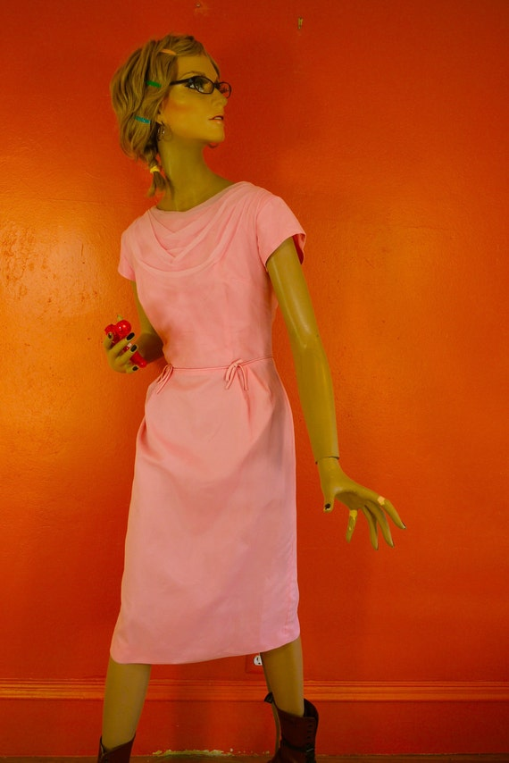 Vintage Pink Chiffon Cocktail Dress 1950s