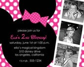 Hot Pink Minnie Mouse Custom Photo Birthday Party Invitations - Any Color - You Print
