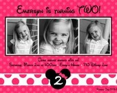 Custom Minnie Mouse Photo Birthday Party Invitations - You Print - ANY COLOR