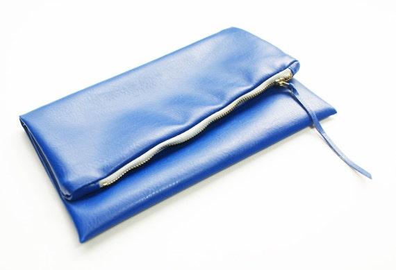 Blue Fold over Clutch FINAL SALE