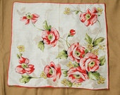 SALE ITEM Vintage Handkerchief with Red Flower Floral Design