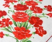 Vintage Handkerchief with Red Flower Floral Design