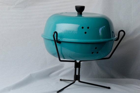 SALE ITEM Retro Mid Century Robins Egg Blue Aqua Turquoise Mini Barbeque