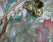 clear flower rose necklace with gold safety pin painted beads