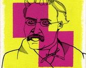 Nietzsche Portrait Print Illustration Original Art German Philosopher Philologist Poet