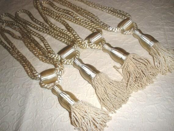 4 vintage ivory white tie backs