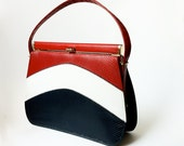 50s 60s Vinyl Purse in Red, White, Blue