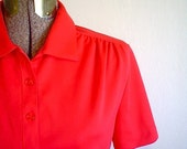 80s CANDY APPLE RED Casual Blouse Top