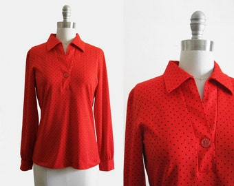 Vintage 1970s Red Top with Black Swiss Polka Dots
