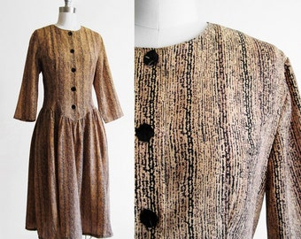 Vintage 1980s FAUX BOIS Day Dress