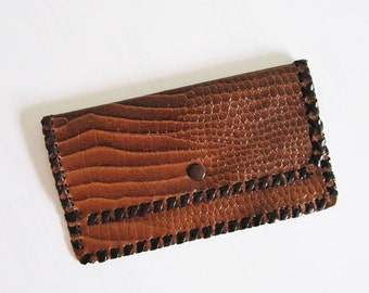 Vintage 1940s Alligator Brown Leather Wallet with Stitching