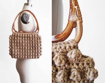 Vintage 1970s Popcorn Crochet Purse
