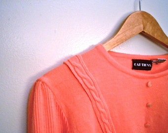 80s Pink Knit Sweater Top by Captions