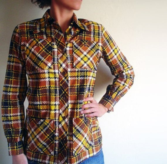 PLAID 1970s Top with Pockets